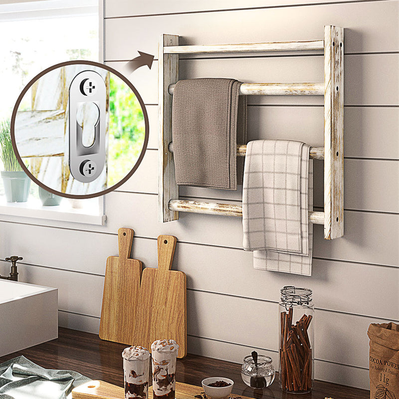 Greenstell Rustic Wood Wall-Hanging Towel Rack White Large