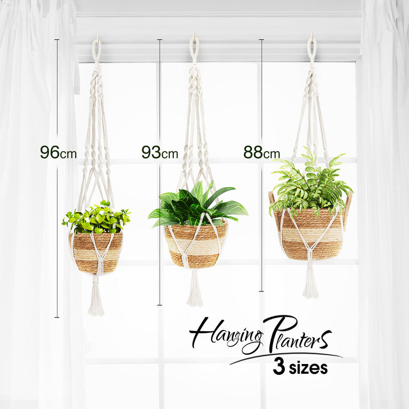 Greenstell 3 Pcs Hand-woven Seagrass Hanging Planter with Plastic Lining & Macrame Ropes White