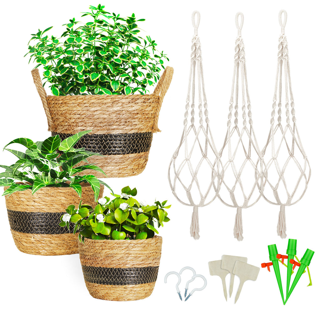 Greenstell 3 Pcs Hand-woven Seagrass Hanging Planter with Plastic Lining & Macrame Ropes