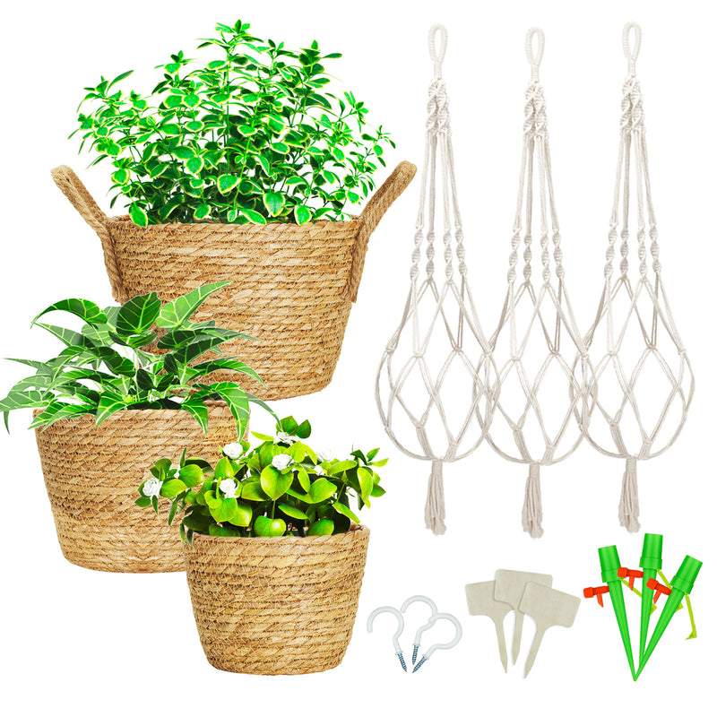 Greenstell 3 Pcs Hand-woven Seagrass Hanging Planter with Plastic Lining & Macrame Ropes Brown