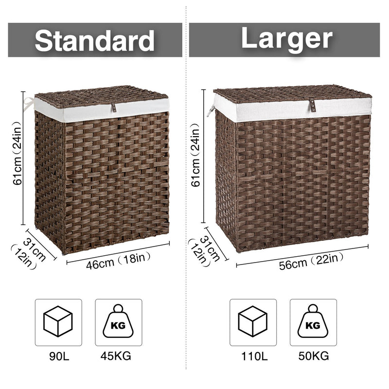 Greenstell Woven Synthetic Rattan Collapsible Laundry Hamper Standard (18*12*24 in)