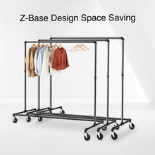 Load image into Gallery viewer, Greenstell Rolling Industrial Pipe Z Base Garment Rack 2 Packs  (24*63*59 in)