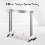 Greenstell Rolling Z Base Clothes Rack with Brake and Hooks (24*68*59 in)