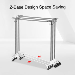 Greenstell Rolling Z Base Garment Rack with Brake and Hooks (24*68*59 in)