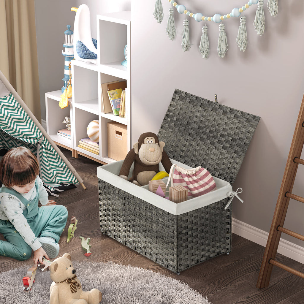 Greenstell Seagrass Storage Basket with Liner and Handle Set of 3
