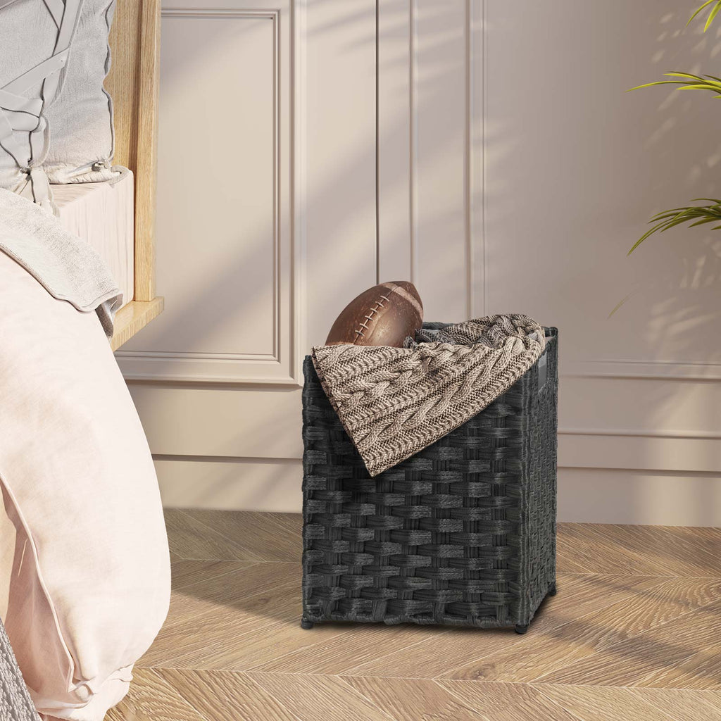 Greenstell Rattan Trash Can with Lid and 6 Liners, Waste Basket with Handles 3 Packs Black
