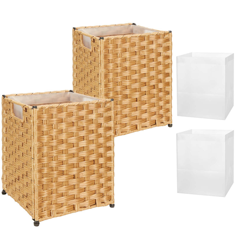 Greenstell Woven Waste Basket with Handles and 4 Liners 2 Packs