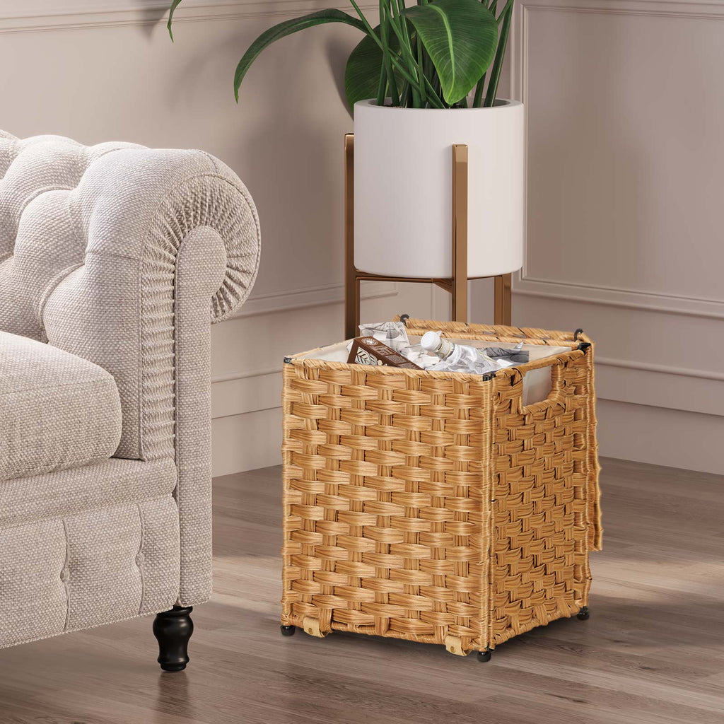 Greenstell Rattan Trash Can with Lid and 6 Liners, Waste Basket with Handles 3 Packs Natural