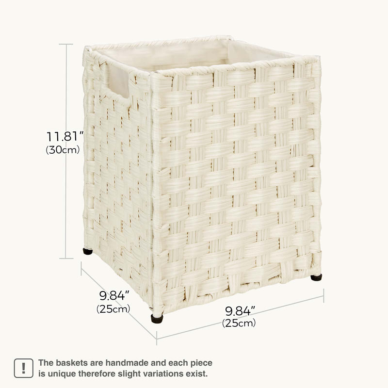 Greenstell Rattan Trash Can with 6 Liners, Waste Basket with Handles 3 Packs White
