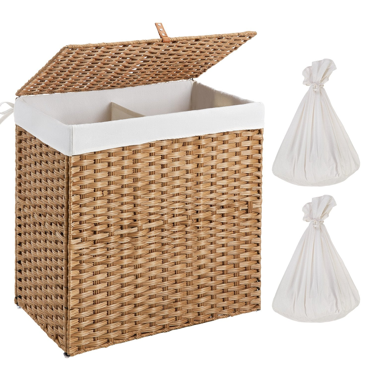 Woven Synthetic Rattan Collapsible Laundry Basket Large Greenstell