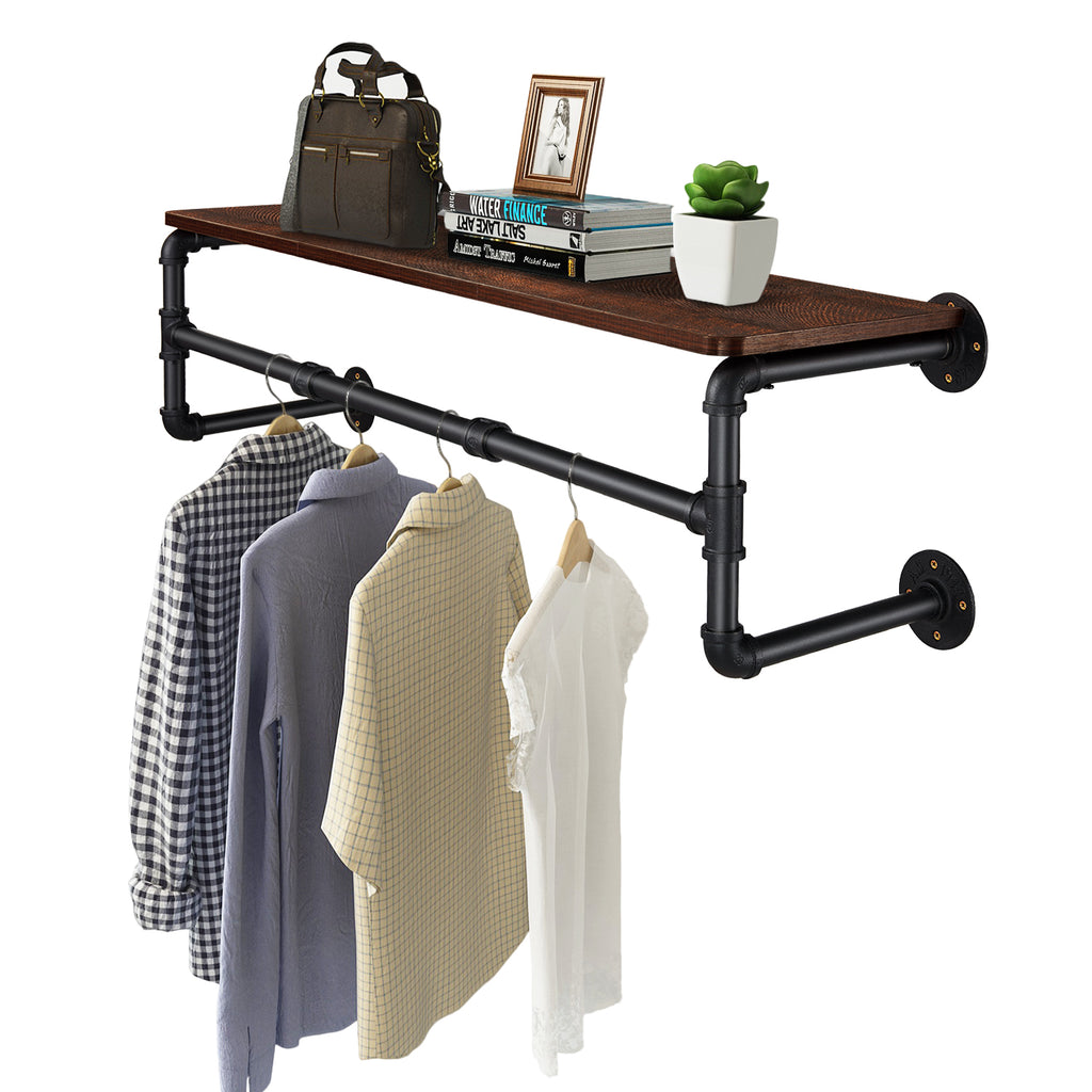 Greenstell Industrial Pipe Wall Mounted with Wood Board Clothes Rack (41*10*9.8 in)