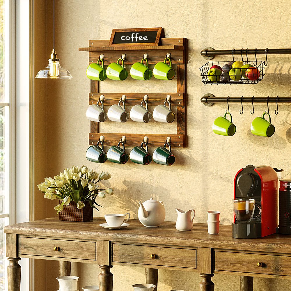 Greenstell Wall Mounted Coffee Mug Rack with Chalkboard 12 Hooks White