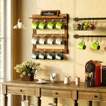 Load image into Gallery viewer, Greenstell Wall Mounted Coffee Mug Rack with Blackboard and Shelf 12 Hooks Brown