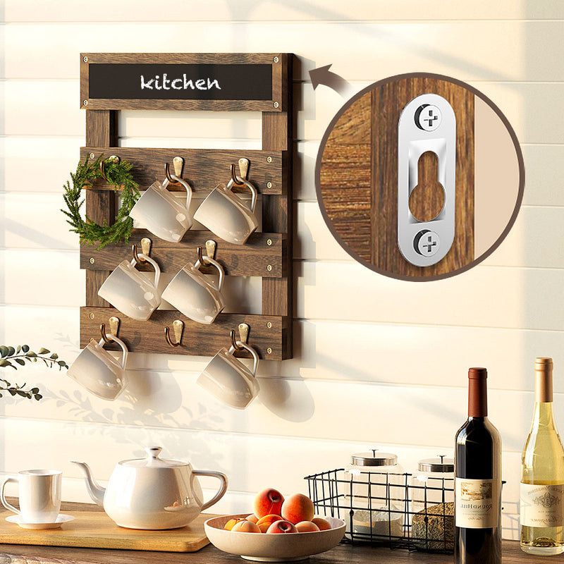 Greenstell Rustic Wall Mounted Coffee Mug Rack with Chalkboard 8 Hooks White