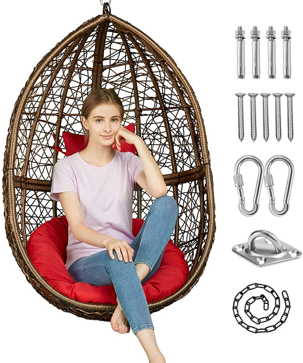 Greenstell Hammock Swing Stand+Egg Hammock Chair Brown+Red Cushion Pillow