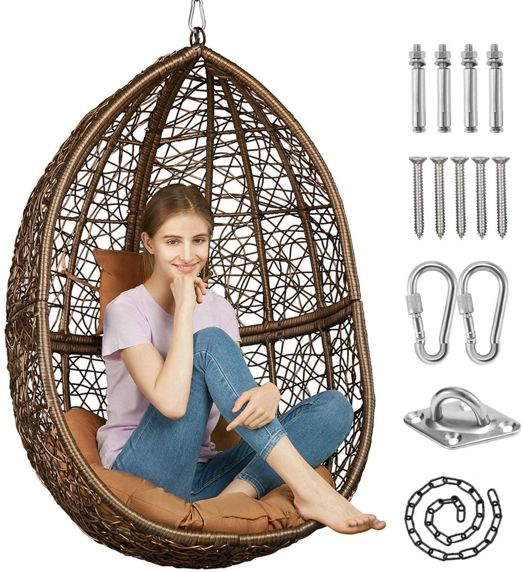 Greenstell Hammock Swing Stand+Egg Hammock Chair Brown+Coffee Cushion Pillow