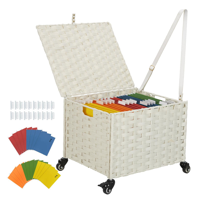 Greenstell Rolling File Cabinet, 20 Hanging File Folders & Tabs & Lid