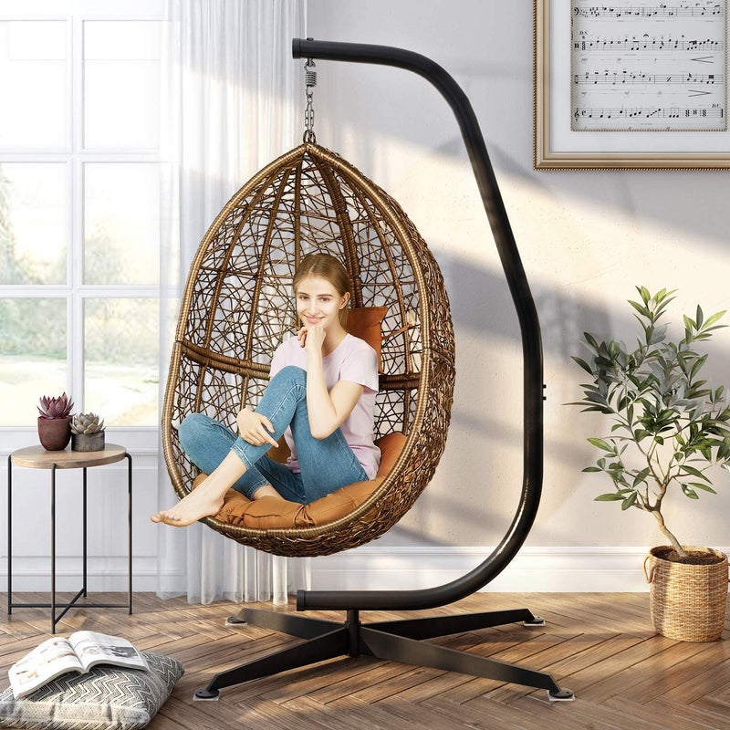 Greenstell Hammock Swing Stand+Egg Hammock Chair Black+Red Cushion Pillow