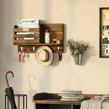 Load image into Gallery viewer, Greenstell Rustic Wall Mail Sorter with Tag Frame and 4 Double Hooks Brown