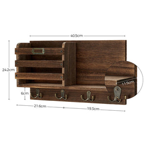 Greenstell Rustic Wall Mail Sorter with Tag Frame and 4 Double Hooks Brown