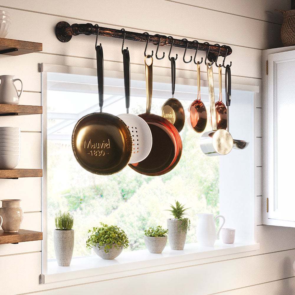 Greenstell Wall Mounted Pot Rack Black with 14 Detachable Sliding Hooks