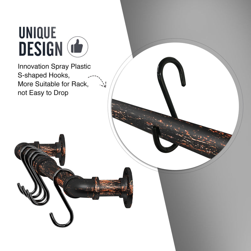 Greenstell Industrial Pipe Hanging Pot Rack Bronze with 14 Detachable S Hooks 2 Sets