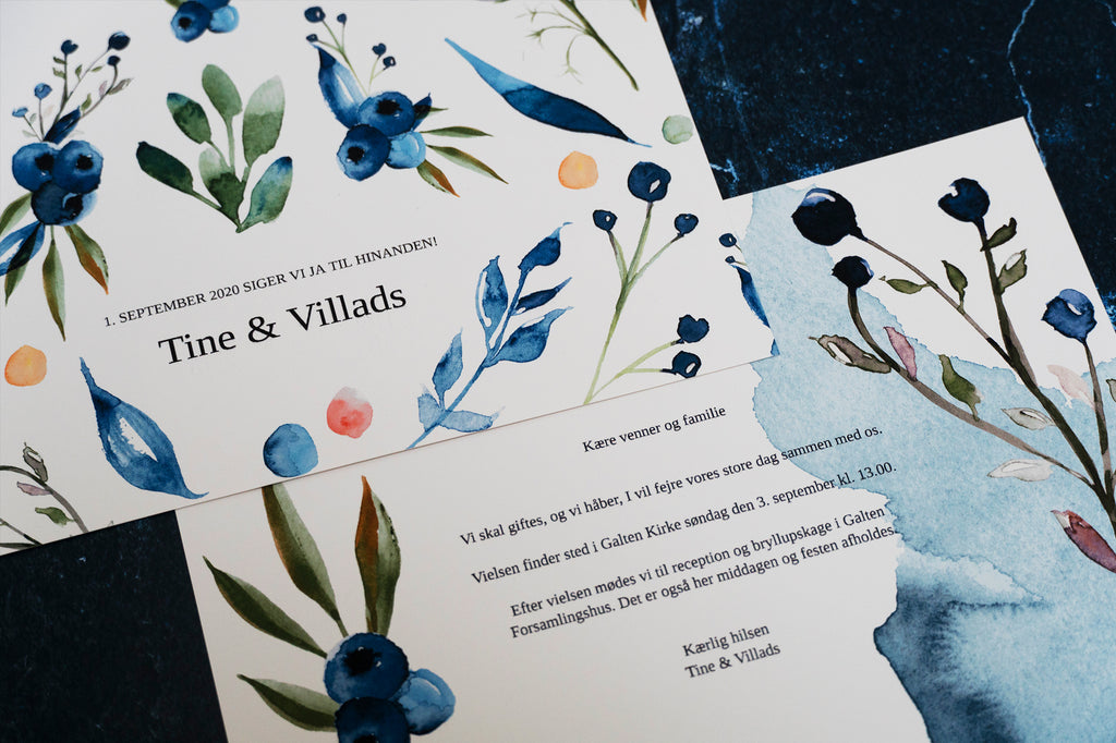 Blueberries invitation til bryllup