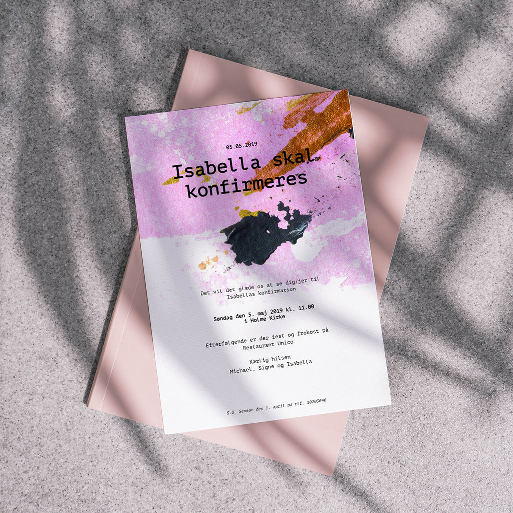 Pink Splash - Invitation til Konfirmation