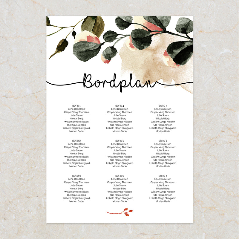 Bordplan i Fall In Love designet fra Kalas Studio