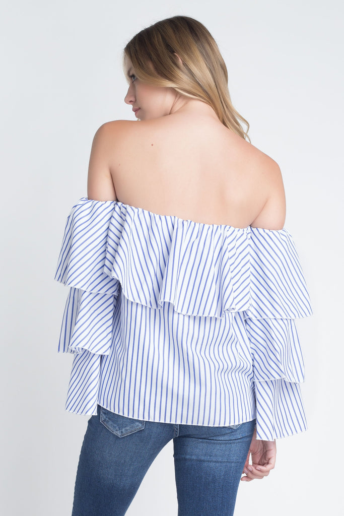 Women's Off Shoulder Stripe Ruffle Long Sleeve Top