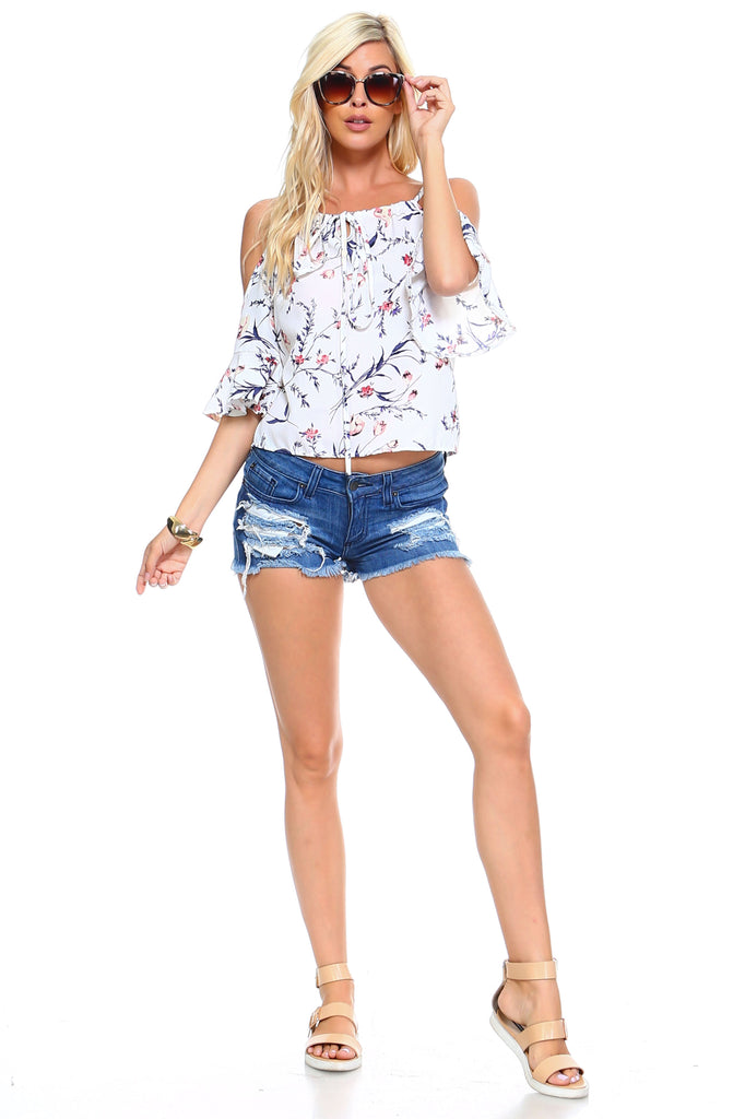 Women's Floral Tie Cold Shoulder Top