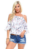 Image of Women's Floral Tie Cold Shoulder Top