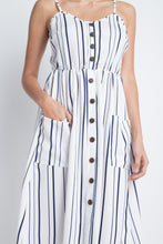 Load image into Gallery viewer, Women's Striped Button Midi Sleeveless Dress