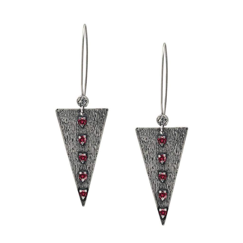 Odin Red Silver Earrings, Large