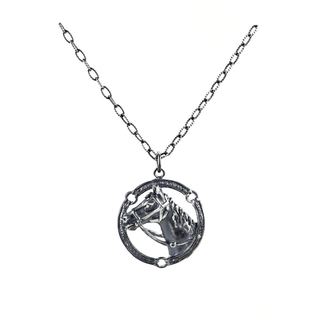 horse pendant necklace silver