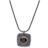 womens silver necklace with black cz