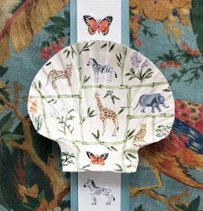 Seashell No. 12: Safari Animals and Bamboo on Beige