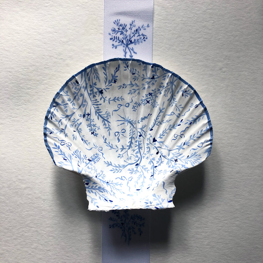 Seashell No. 14: Blue Florals and Bows on White