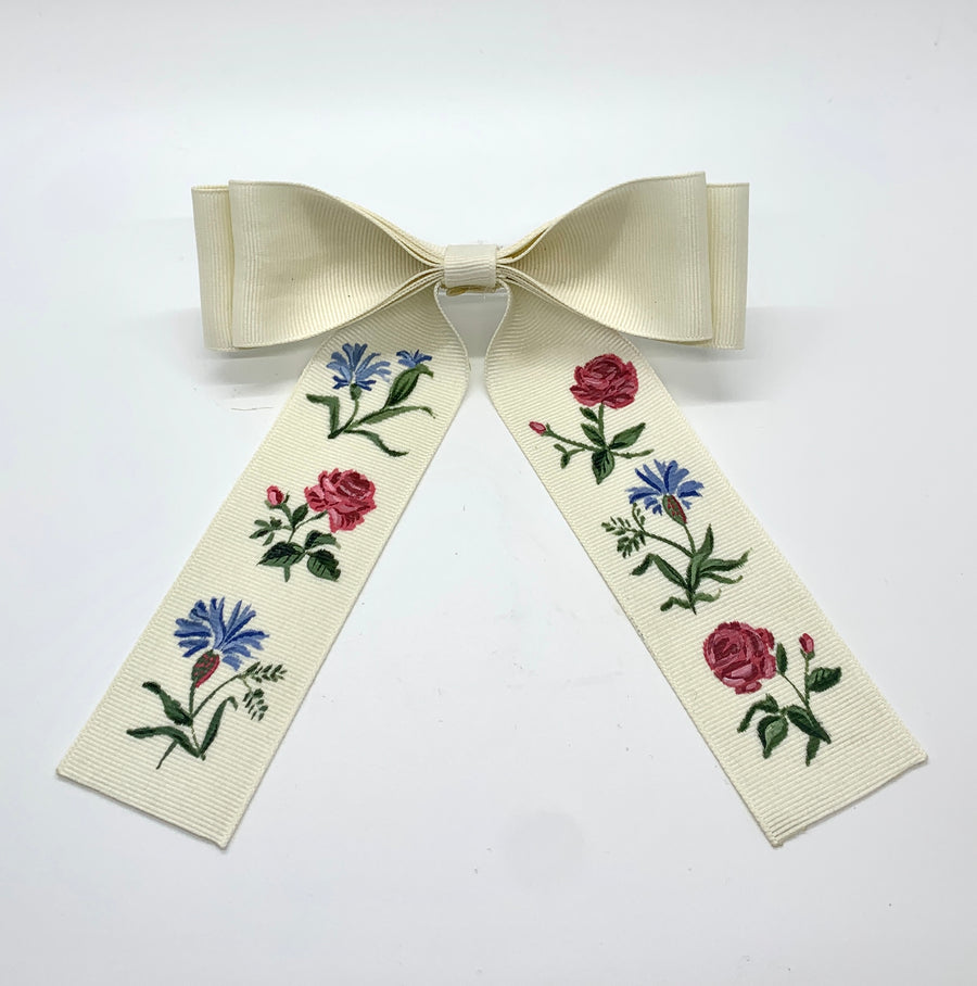 Bow No. 3: Red and Blue Floral on Ivory