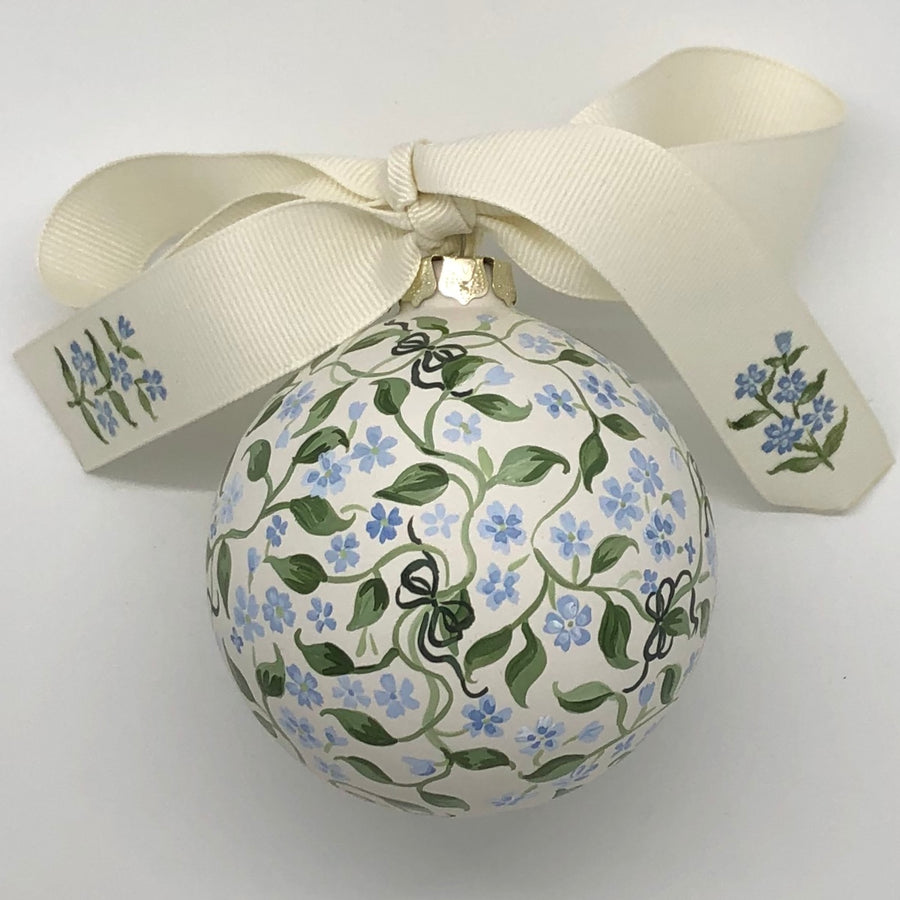 Forget-Me-Nots and Dark Olive Green Bows Ornament