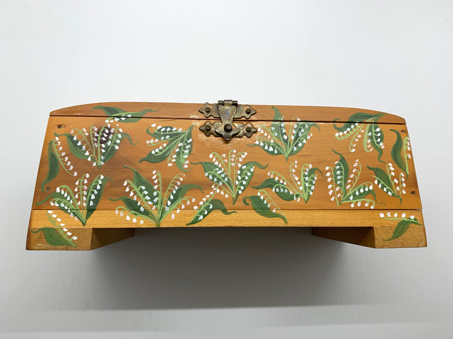 Original Painted Antique Cedar Box, Lily of the Valley