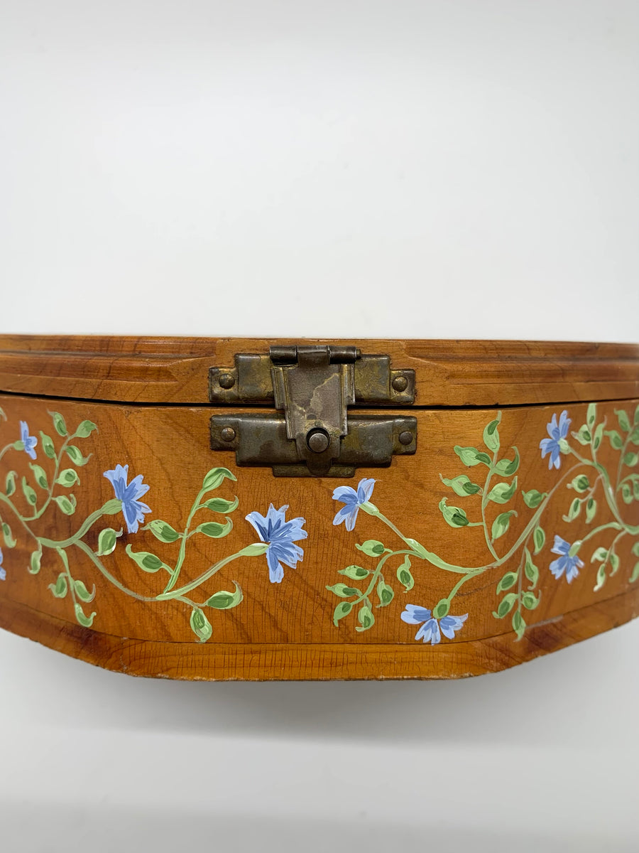 Original Painted Antique Cedar Box, Multi Botanicals