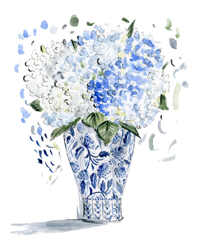 Still Life with Hydrangeas Original Watercolor Printed Reproduction, 8x10