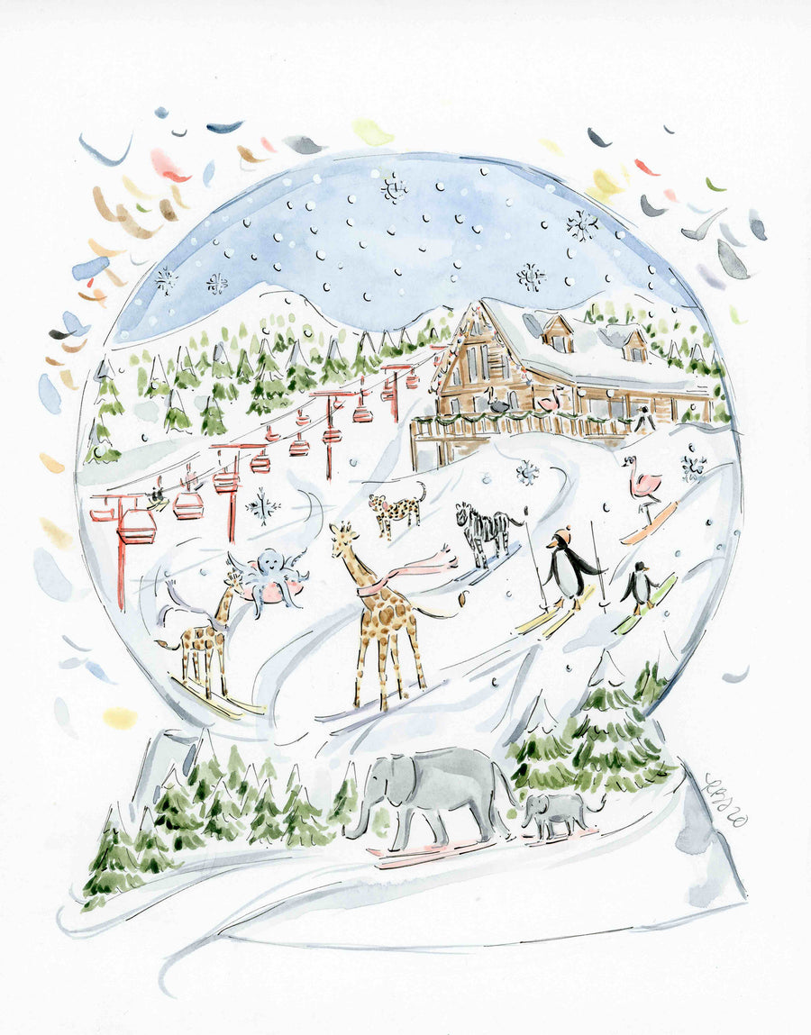 Original 2020 Ski Snow Globe Charity Watercolor