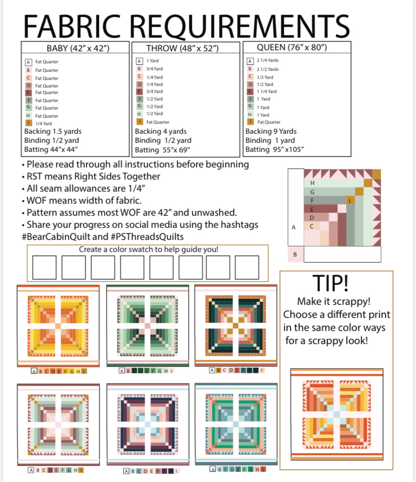 Bear Cabin Quilt PDF- Automatic Download