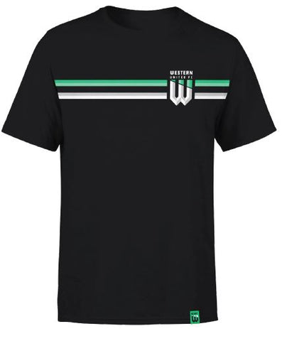 YOUTH BLACK DUAL STRIPE SUPPORTER TSHIRT