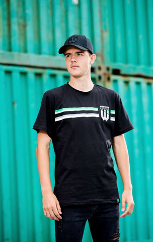UNISEX BLACK DUAL STRIPE SUPPORTER T-SHIRT