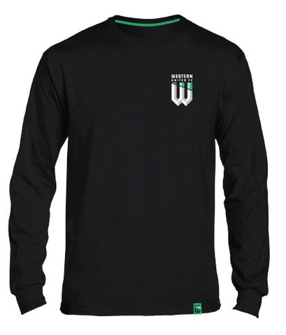 YOUTH BLACK LONG SLEEVE SUPPORTER TSHIRT