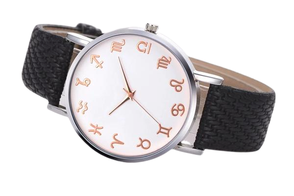 Black Leather Astrology Watch