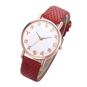 Red Leather Astrology Watch